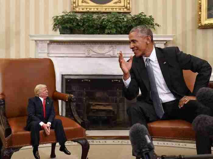 Pequeño Trump con Obama tras ser elegido