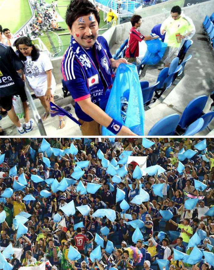 Japanese Fans Stayed Behind After The FIFA World Cup 2014 Match To Help Clean Up