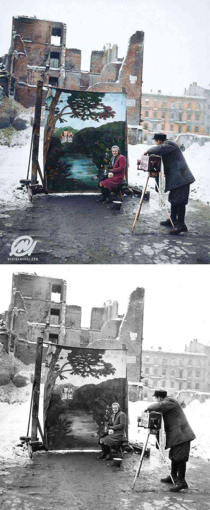Fotógrafo usando su fondo sobre las ruinas de Varsovia, Noviembre 1946