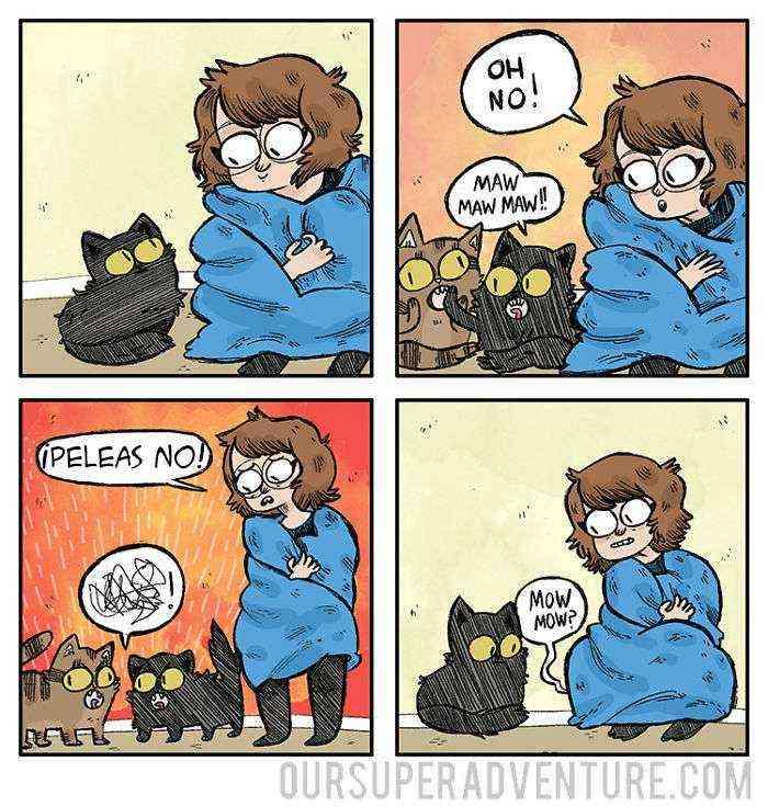 1533917945 987 esta dibujante ilustra su vida diaria con su novio y sus 4 gatos y querras ver mas - Esta dibujante ilustra su vida diaria con su novio y sus 4 gatos, y querrás ver más