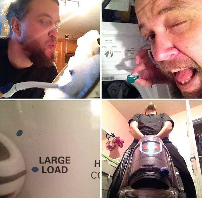 A mi esposa le encanta que haga las tareas del hogar, así que le mandé estas fotos mientras ella trabajaba esperando que se excitara